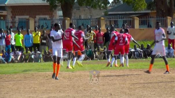 Zalan players celebrate after Dhieu scored. Photo: SSFA Online